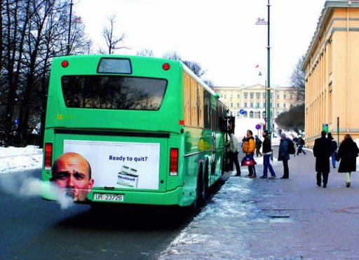 German quit smoking advertisement on bus