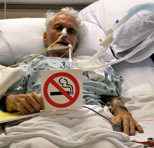 No smoking sick old patient